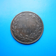 HOPCT ROMANIA 5 BANI 1867 WATT -PATINA FRUMOASA !/PIESA DE COLECTIE ! - Moneda Romania, Cupru (arama)