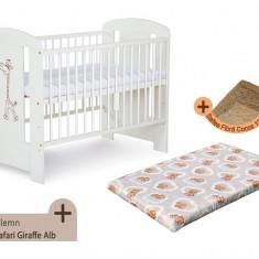 Pat copii - Patut fara sertar KLUPS Safari Giraffe Alb + Saltea Fibra MyKids