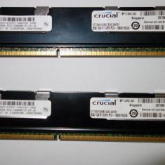 Kit memorii RAM ECC DDR3 Crucial Server 2 x 8GB PC3-10600 Perfect functionale! - Memorie RAM Crucial, Dual channel