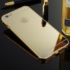 Bumper iPhone 5 5S Aluminiu + Capac Mirror Gold - Bumper Telefon, Auriu