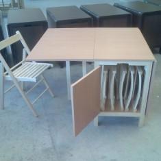 Set gradina - Set masa si 4 scaune pliante din lemn culoare natur fag deschis