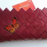 "Geanta eco, nuanta marsala, model ""Fluture"" - Geanta handmade"
