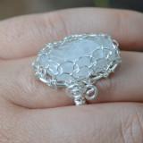 Inel handmade din piatra lunii alb