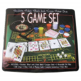 Set Jocuri 5in1 Poker Ruleta Black Jack Craps Poker Dice - Jocuri Board games