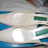 Pantofi de dama eleganti, piele, alb-crem, inaltime toc 6 cm., marime 36-37 - Pantof dama, Marime: 36.5, Piele naturala