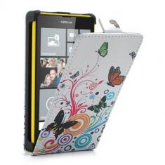 Husa Telefon - Husa flip alba (fluturi+cercuri) (MLC) pentru telefon Nokia Lumia 520 / 525
