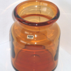 Vaza colectie cristal amber, suflata manual - design Erik Hoglund, KOSTA BODA - Vaza sticla