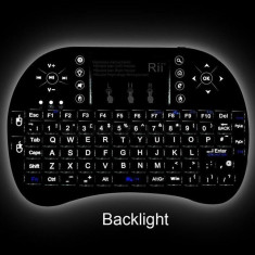 Tastatura wireless ILUMINATA Reincarcabila pt. TV Android SMART TV box media, Mini tastatura, Fara fir, USB, Tastatura iluminata