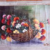 """Tablou, Flori, Ulei, Realism - Pictura in ulei """"Cosul cu Garoafe"""" - 1985, autor H. Serban"""
