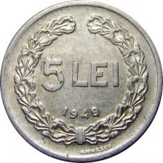 ROMANIA, 5 LEI 1949 * cod 49 - Moneda Romania, Aluminiu