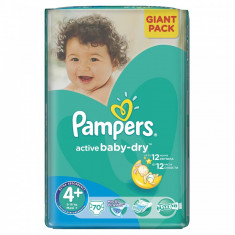 PAMPERS Scutece Pampers Active Baby 4+ 81527654, Giant Pack, 70 buc, 9-16 kg - Scutece unica folosinta copii