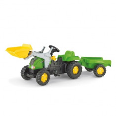 Tractor cu Pedale si Remorca copii 023134 Verde Rolly Toys - Vehicul