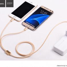 Cablu textil Hoco 2in1 incarcare multipla, USB + Lightning + MicroUSB, gold - Cablu de date