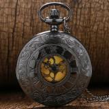 Ceas de buzunar cu medalion - Ceas barbatesc, Casual, Quartz, Otel, Analog, Nou