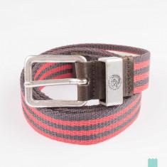 Curea textila+piele DIESEL BIGOKHAN marime 100 cm, noua *ORIGINALA* - Curea Barbati Diesel, Culoare: Rosu, Verde