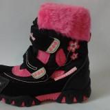 Ghete/ cizme impermeabile, imblanite, Super Gear, negru cu roz - Ghete copii, Marime: 22, 23, 24, 25, 26, 28, 30, 31, 32, 33, 34, Fete, Textil