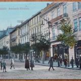 Bucuresti, Bulevardul Elisabeta, circulata, 1913, animatie - Carte Postala Muntenia 1904-1918, Printata