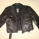 Geaca motor/moto/biker/vintage/colectie, barbati, piele naturala CLASSIC LINE - Geaca barbati, Marime: 48, Culoare: Negru