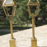 Set 2 felinare cu picior miniaturi bronz Anglia anii 20 marcate - Metal/Fonta, Vase