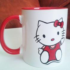 Cana pictata Hello Kitty cu acrilice si arsa in cuptor. Rezistenta la spalare