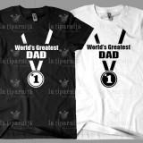 Tricouri Personalizate World's Greatest Dad - Tricou barbati, Marime: XS, S, M, L, XL, XXL, XXXL, Culoare: Alb, Negru, Maneca scurta, Bumbac