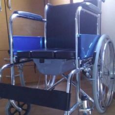 Scaun cu rotile - Fotoliu (carucior) rulant de otel cu vas WC (toaleta plastic)