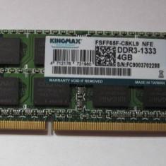 Memorie Laptop Kingmax 4 Gb DDR 3, 1333 Mhz, FSFF65F - C8KL9, noua - Memorie RAM laptop