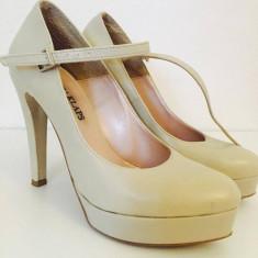 Pantofi dama nude, piele naturala marime 37, toc 12, 5 cm - Pantof dama