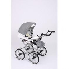 Carucior 2 in 1 Whicker Classic Color 6 Baby-Merc - Carucior copii 2 in 1 Baby-Merc, Alb