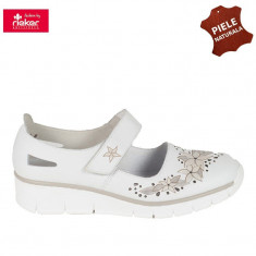 Pantofi dama piele naturala RIEKER alb floral (Marime: 39) - Pantof dama