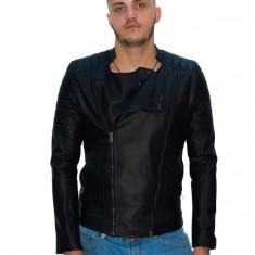Geaca tip ZARA -Neagră de piele ecologică- barbati - slim fit - fashion - Geaca barbati, Marime: S, M, Culoare: Negru