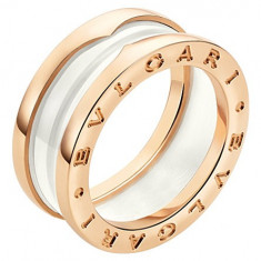 BVLGARI B.zero1 two-band 18kt pink-gold and ceramic inel - Inel aur Bvlgari, Culoare: Alb