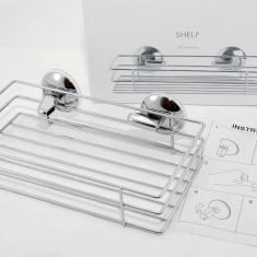 Raft drept din inox pentru baie - fixare cu ventuze - NOU