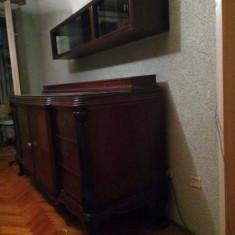 Bufet de living din lemn masiv si corp suspendat din lemn masiv cu sticla