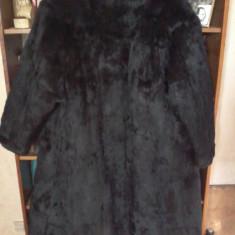 Haină lungă de blană naturală de damă - Palton dama, Marime: XL/XXL, Culoare: Negru