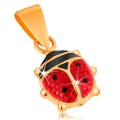 Pandantiv realizat din aur galben de 14K - gărgăriță proeminentă smălțuită roșu-negru - Pandantiv aur