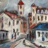 Tablou ulei( 15/15 cm)-PEISAJ CITADIN - Pictor roman, Flori, Impresionism