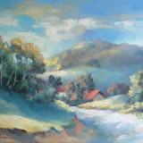 DRUMUL SPRE SAT - pictura ulei/ panza - Pictor roman, Peisaje, Realism