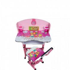 Birou Copii cu masuta, etajera si scaun KT0539 ROZ - Masuta/scaun copii