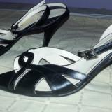 Sandale din piele negre marime 37- 38 - Sandale dama, Culoare: Negru