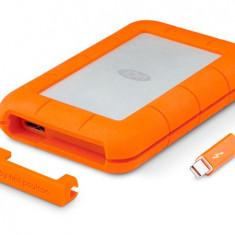SSD Extern LaCie Rugged 500GB USB 3.0 Thunderbolt Argintiu - Portocaliu