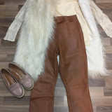 Pantaloni piele naturala, S/M - Pantaloni dama, Culoare: Camel