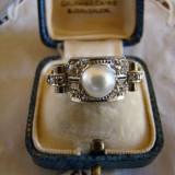 ELEGANT SI IMPOZANT INEL AUR ALB 14KT-CU BRILIANTE SI PERLA DE CULTURA - Inel diamant